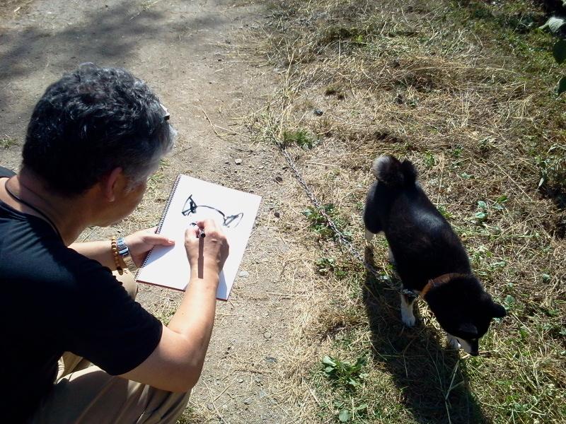 コロナ、絵を描いてもらう。